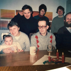 Top row: Ian, Bernadette, Rosie. Bottom row:Caroline (proably with baby Emily Coombes), Alan, James.